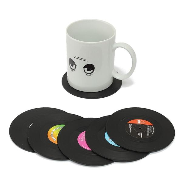 6st Vinylskivor Coaster Mugg Hållare Cup Mat Retro Placemat