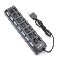 7 Port LED USB 2.0 Hub High Speed Mini USB Hub Adapter för Telefoner för PC-enheter