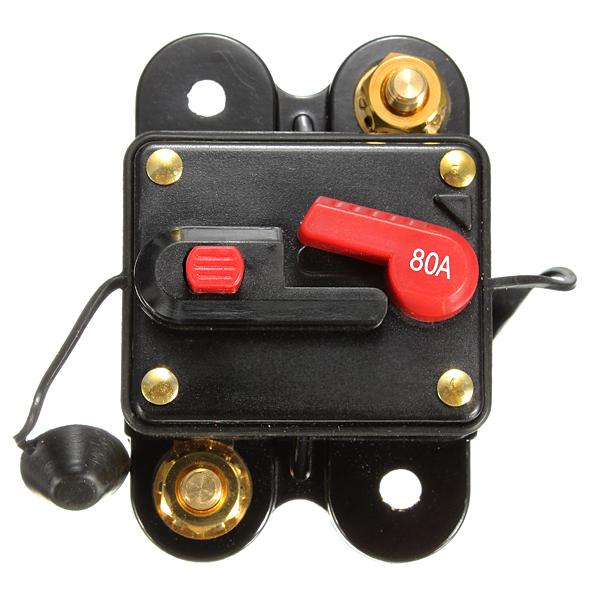 80A Nulstilles Bil Båd Audio / Video AMP Power Fuse Circuit Breaker Industrial & Videnskab