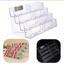 8 Pocket Desktop Office Acrylic Business Card Holder Stand Display