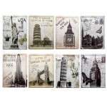 8pcs World Famous Building Tin Sign Vintage Metal Home Bar Wall Decor Industrial & Scientific