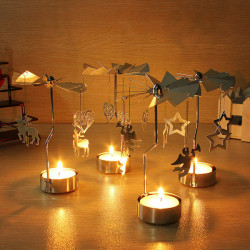 Aluminum Rotatory Spinning Carrousel Tea Light Candle Stand Holder