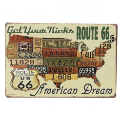 American Dream Route 66 Tin Sign USA Map Vintage Pub Wall Decor