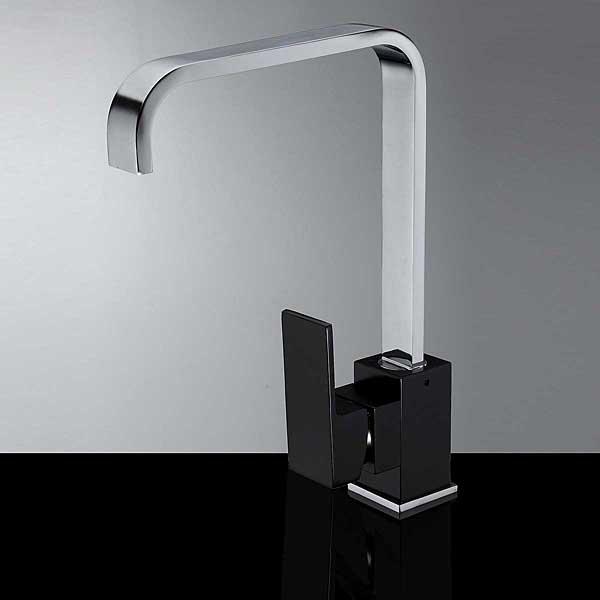 Black Chrome Solid Brass Kitchen Sink Mixer Tap Square Bath Faucet Industrial & Scientific