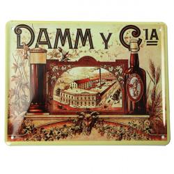 DAMM CIA Plåtskylt Vintage Metall Plaque Affisch Bar Pub Hem- Väggdekor