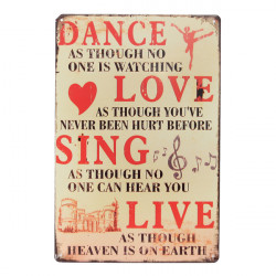 Dance Love Tin Sign Retro Vintage Metal Plaque Bar Pub Wall Decor