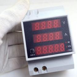 DIN-skena LED AC VoltAmperflerfunktions Digital Meter