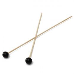 Glockenspiel Xylophone Hardwood Klubbor Sticks Set Svart Gummi Huvud