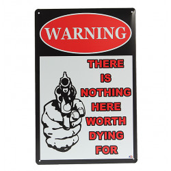 Gun Warning Tin Retro Weinlese Metallplakette Bar Pub Wand Dekor Anmeldung