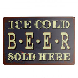 Ice Cold Beer Tin Sign Vintage Metal Plaque Tavern Pub Bar Wall Decor