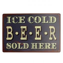 Ice Cold Beer Blechschild Jahrgang Metallplakette Tavern Pub Bar Wand Dekor