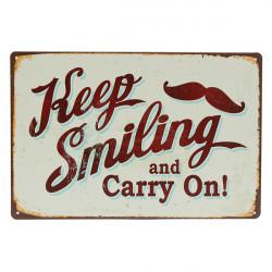 Halten Anmeldung Lächeln Zinn Weinlese Metallplakette Bar Pub Hauptwanddekor