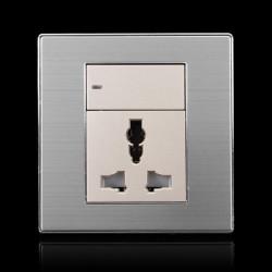 LED Väggkontakt Panel LED Knapp och 3-Hål Plugg Flerfunktions Socket