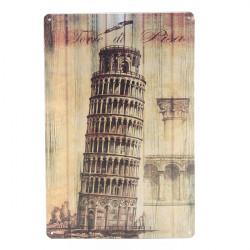 Lutande Tornet i Pisa Plåtskylt Vintage Metall Plaque Bar Väggdekor