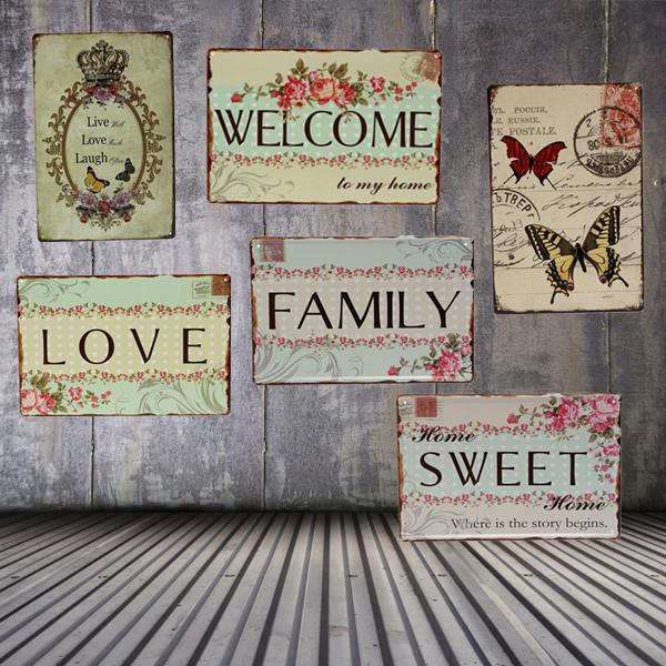 Älskar Family Plåtskylt Vintage Metall Plaque Poster Bar Hem- Väggdekor Industri & Vetenskap