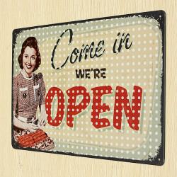 Öppna Plåtskylt Retro Vintage Metall Plaque Pub Bar Butiksväggen Decor