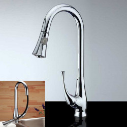 Pull Out Køkken Vandhane Swivel Spray Mixer Brass Chrome Hane