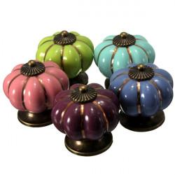 Pumpkin Ceramic Furniture Drawer Pull Dresser Handle Cabinet Knob