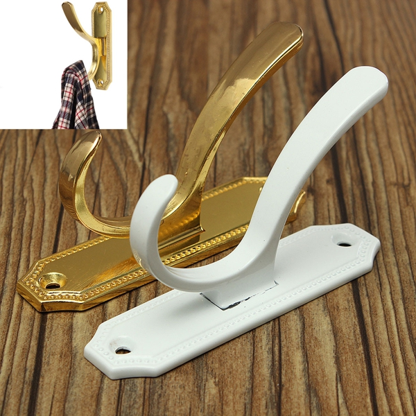 Retro Clothes Double Hooks Coat Hat Robe Holder Wall Hanger Zinc Alloy Industrial & Scientific