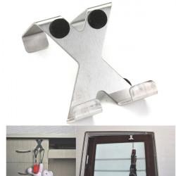 Thicken Stainless Steel Door Hook Hanger Towel Rail X Shape Silver