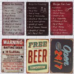 Plåtskylt Vintage Metall Plaque Hem Bar Cafe Garage Pub Väggdekor