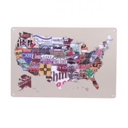 USA Amerikanskt Karta Plåtskylt Retro Vintage Metall Bar Pub Väggdekor