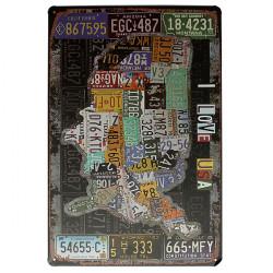 USA Kartlägger Undertecknar Jag Älskar USA Retro Vintage Tin Plack Bar Pub Väggdekor