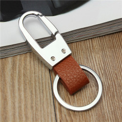 Vintage Bronze PU Leather Strap Car Holder Keyring Keychains Key Ring