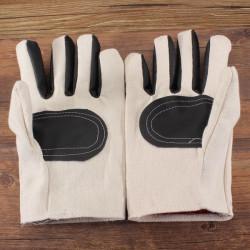 Vit Duk Läder Labor Handskar Använd Skyddshandskar