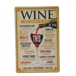 Wine Tin Sign Vintage Retro Metal Plaque Pub Bar Wall Decor