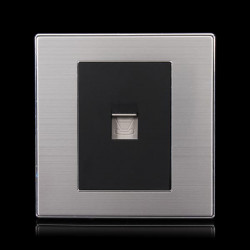 Wired Phone Wall Switch Socket 10A Drawing Panel Black/Golden
