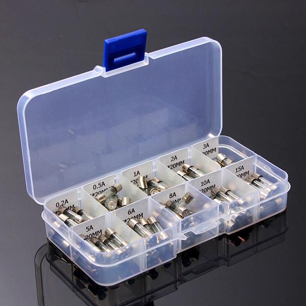 100stk 5x20mm Elektrisk Sikring Amp Fast-slag Glass Fuse Box Instrument & Værktøj