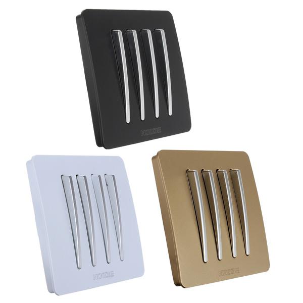 10A 220V 4 Gang Button Enkelt / Dobbelt Kontrol Wall Lyskontakt Instrument & Værktøj