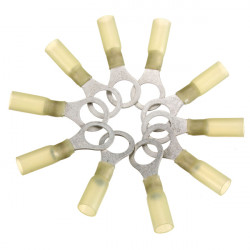 10PCS 10.5mm Yellow Terminals Insulated Ring Connector 4.0-6.0mm² 12-10AWG M10