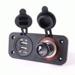 12-24V Power Socket Splitter med Dual USB Oplader Power Adapter Instrument & Værktøj