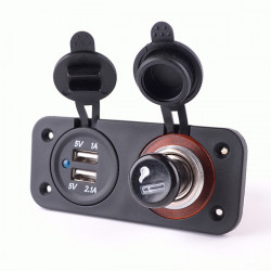 12-24V Power Socket Splitter with Dual USB Charger Power Adapter