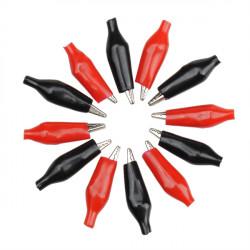 12st Rot Schwarz Isolierung Stiefel Metallkrokodilklemmen