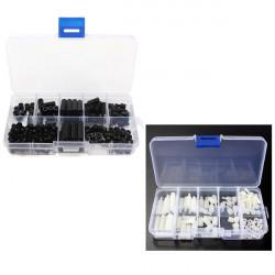160pcs M3 Nylon Black + 88pcs M3 Nylon White M-F Hex Spacers Screw Nut Assortment Kit