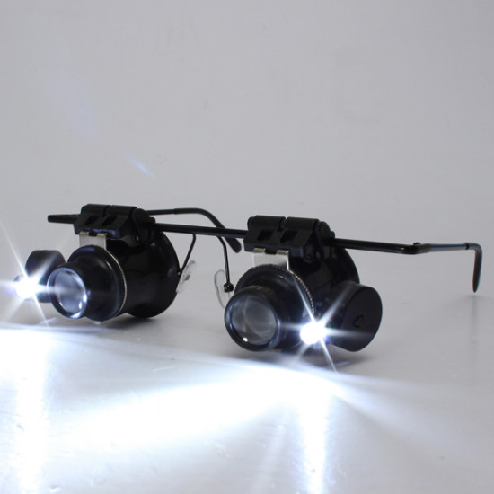 20X LED Magnifier Magnifying Double Eye Glasses Loupe Lens 2021