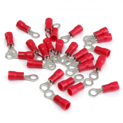 25stk Red Rubber PVC Terminals Isolierte Klemmring RC 0.5 1.5mm²