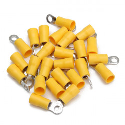 25pcs Yellow Rubber PVC Terminals Insulated Ring Connector 4.0-6.0mm²