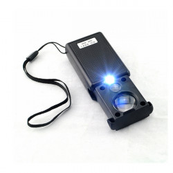 30X 60X Pull Type LED Light Mini Identifying Magnifier Black