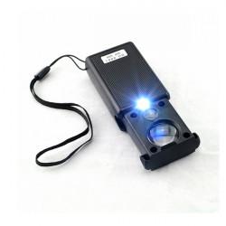 30X 60X Pull Typ LED Licht Mini Identifizierung Lupe Schwarz