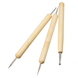 3Pcs Ball Styluses Tool Set for Embossing Pattern Clay Sculpting