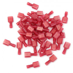 50stk 2.5cm Nylon Red Han Isolerede Ledninger Terminals Stik