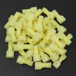 50pcs2.5cm Nylon Yellow Male Insulated Wire Terminals Connectors