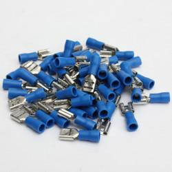 50stk 6.3mm Female Blau Ganz isoliert Spade Crimpverbinder