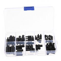 88pcs M3 Nylon Black M-F Hex Spacers Screw Nut Assortment Kit