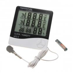 HTC 2 Digital Thermometer Hygrometer Clock Calenda mit Messfühler