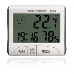 LCD Digital Termometer Hygrometer Temperatur Luftfuktighet Meter Clock